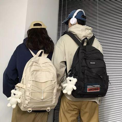 School Bag College Wild Middle School Junior High School Students Backpack Korean Harajuku Ulzzang Style Couple Backpack