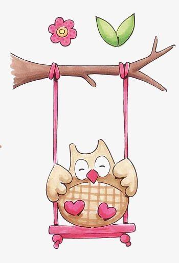 Handbemalte Eulen Cartoon Eulen Auf Der Schaukel Tiere Die Kindheit Owl Clip Art Owl Owl Pictures
