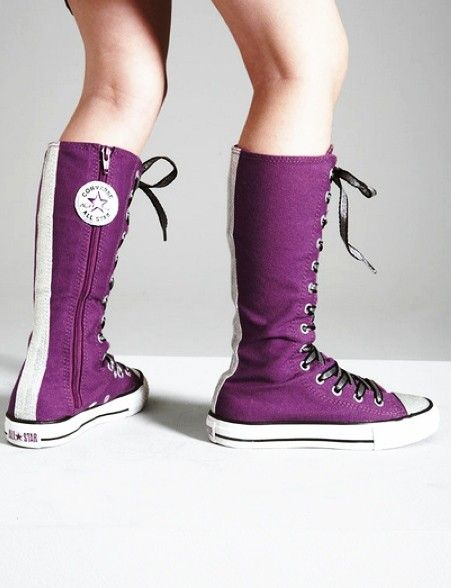 2013 Hot knee high converse sneaker boots, purple zipper