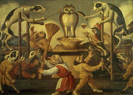 'tentazione del gufo' di Pier Leone Ghezzi (1674-1755, Italy)