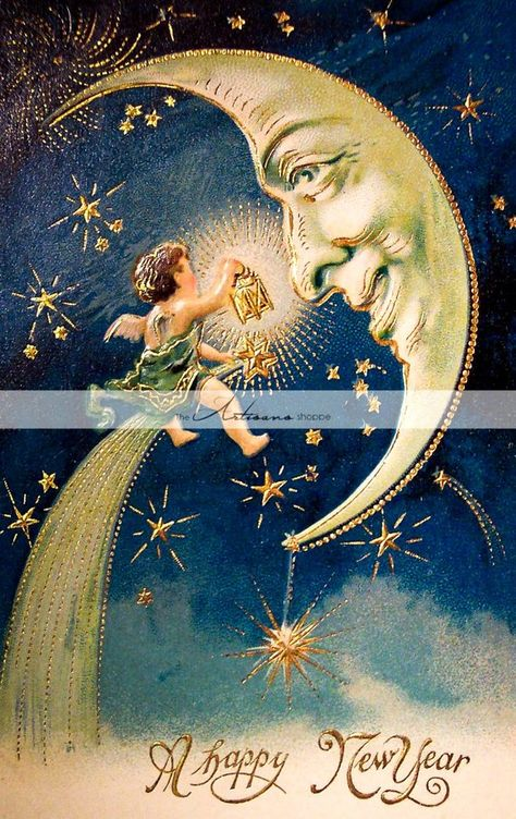 Instant Art Printable Download - Vintage New Year's Postcard Image Moon Angel - Paper Crafts Scrapbo