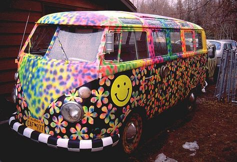 flower, smiley face and general multi colour painted van