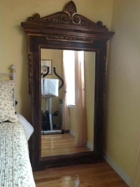 Antique Wooden Frame Mirror Wood