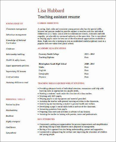 Teacher Assistant Resume Skills Unique Free 8 Sample Teacher Assistant Resume Templates In Ms Teacher Assistant Jobs Teacher Assistant Teacher Resume Template