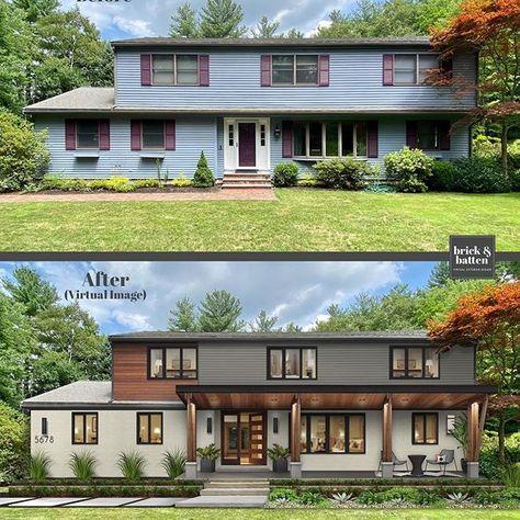 Exterior Siding Options, Ranch Exterior, Exterior Remodel, Modern Exterior, Exterior Design, House Siding, House Paint Exterior, Facade House, Bungalow