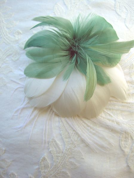 Aimée Sage Green and White Feather Flowers