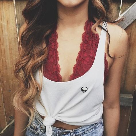 Crimson Cool - Cute Bralette Outfits For When You Just Can't With A Real Bra - Photos