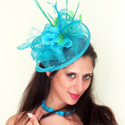 4a0f7335beb47 Kentucky Derby fascinator Blue Turquoise teal Fascinator hat feather  fascinator wedding hat STAVVY FRESH