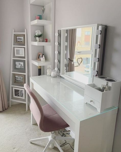 MALM Dressing table - white stained oak veneer - IKEA - Lilly is Love Ikea Dressing Table, Dressing Room Decor, White Dressing Tables, Dressing Table Design, Dressing Tables With Mirror, Dressing Table In Wardrobe, Dressing Table Inspo, Makeup Dressing Table, Room Ideas Bedroom