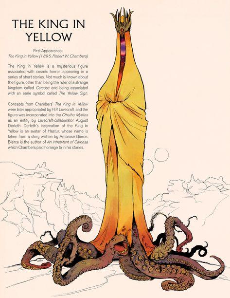 Fantasy Characters: The King in Yellow by Deimos-Remus on DeviantArt Call Of Cthulhu, Monster Design, Monster Art, Monster Concept Art, Arte Horror, Horror Art, Fantasy Character Design, Character Art, Arte Dark Souls