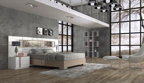 graues modernes Schlafzimmer weiß Bett Kopfteil Schlafzimmer
