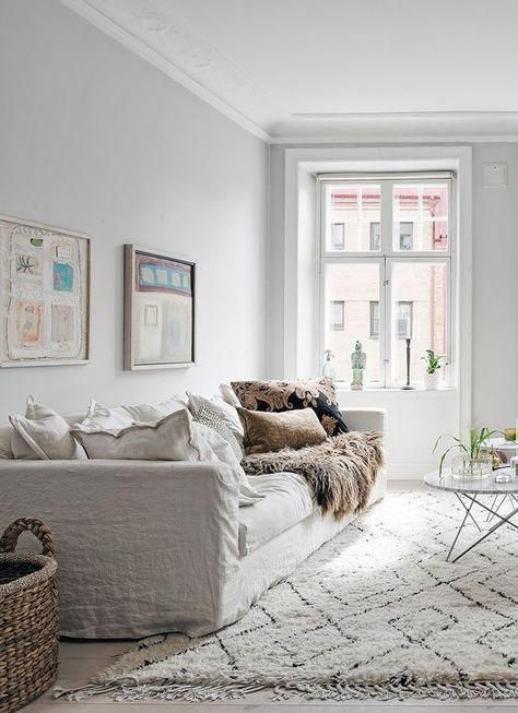 White Scandinavian Style Living Room Grey Walls And White Floors White Linen Sofa W Beige Living Rooms Living Room Scandinavian White Furniture Living Room