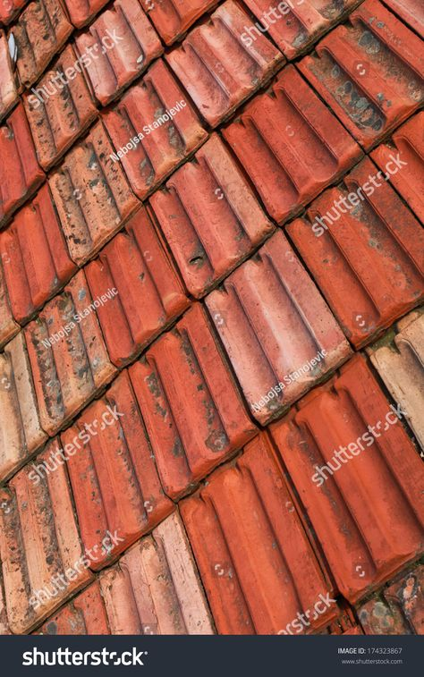 Seamless Terracota Roof Tile Pattern For Continuous Replicate Vector Colourbox Tile Patterns Roof Tiles Pattern