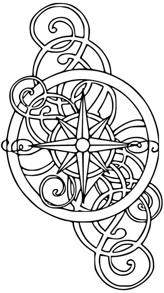 Free Svg Converter Compass Tattoo Design Coloring Pages