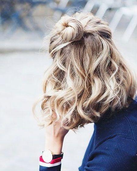Short Hair Curled Half Up Peinados Cabello Corto Peinados Para Poco Pelo Peinados Pelo Corto