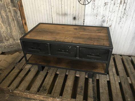 Table De Style Industriel Deux Tiroirs Table Basse Bois Style