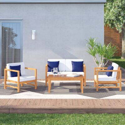 Crocett 4 Piece Sofa Seating Group With Cushions Frame Color Natural Cushion Color Navy Blue And Whi Outdoor Sofa Sets Seating Groups Outdoor Furniture Sets