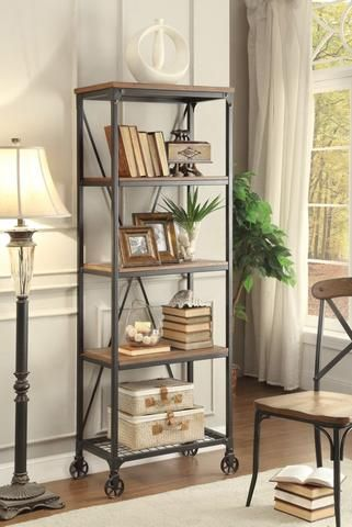 Millwood Rustic Industrial 26 Inch Wide Metal Bookshelf Bakers