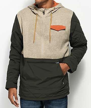Men Grey Dravus Northern Zip Up Tech Fleece Coat Dravus