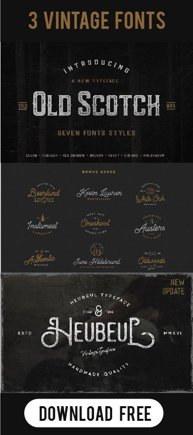 Three Popular Vintage Fonts Download For Free Top Trending Hipster Typography The Best Retro Fork By Pratamaydh Vintage Fonts Fonts Cool Fonts
