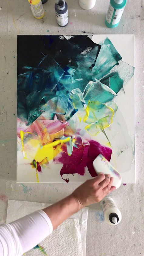 Just a quick and fun acrylic paint application on canvas (using the Catalyst Wedge and Fluid Acrylics) *** artwork by Deniz Altug