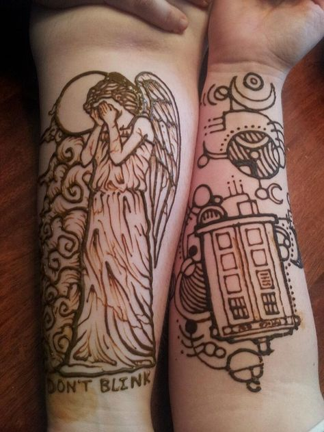 DOCTOR WHO HENNA TATTOOS  talk about intense henna. Who would want a weeping angle?! they are so creepy,