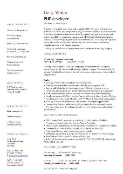 Php Programmer Resume - http\/\/wwwresumecareerinfo\/php - php developer resume sample