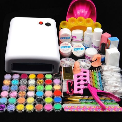 Kit Mancure Nail Art 36w Uv Lampe Rose Sechoir A Ongles Poudre Acrylique Uv Gel Brosee Faux Ongles Pro Wish In 2020 Acrylic Nail Kit Manicure Kit Nail Kit