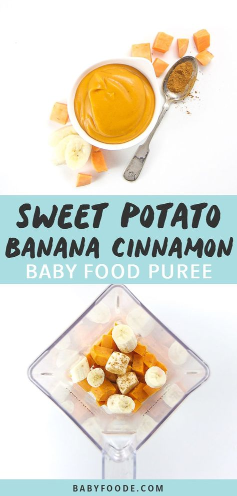 This Sweet Potato, Banana Cinnamon Baby Food Puree is a creamy and nutrient dense puree for baby! Made with only - sweet potatoes, bananas and a pinch of cinnamon, this puree is as easy to make as it is to eat! Great for 6 months - stage 2 baby food. Sweet Potato Puree Baby, Sweet Potatoes For Baby, Sweet Potato Recipes, Avocado Baby Food, Banana Baby Food, Healthy Baby Food, Food Baby, Baby Puree Recipes, Pureed Food Recipes