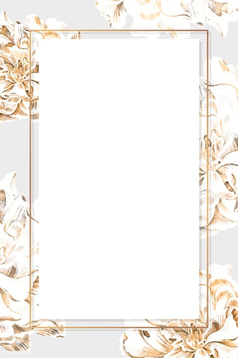 Golden floral peony frame vector | premium image by rawpixel.com / sasi