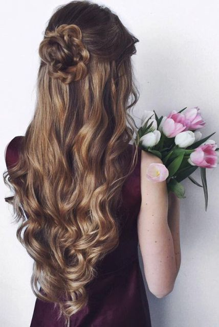 Rose Bun Half Up Half Down With Curls Hair Styles Long Hair Styles Prom Hairstyles For Long Hair