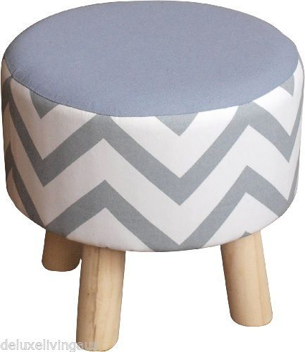 ROUND OTTOMAN - LIGHT GREY & WHITE - POUFFE - FOOT STOOL - KIDS SEAT in  Home & Garden, Furniture, Sofas, Couches | eBay | Pinterest | Kids seating,  ...