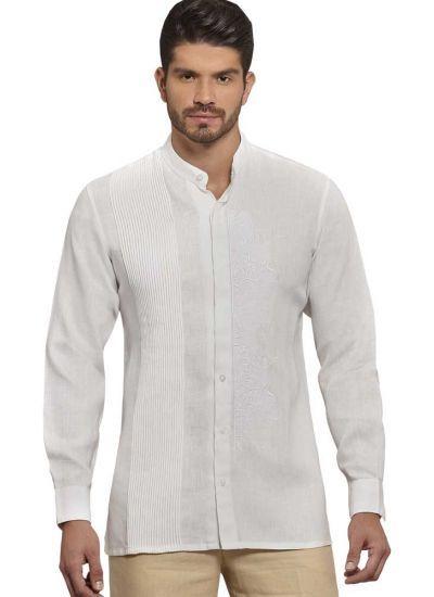 Hidden Buttons Formal Linen Guayabera Long Sleeves Natural Embroidery Handmade Designer Guayabera Back Orders Or Demand Chinese Collar Shirt Mens Beach Wedding Attire Mens Wedding Attire