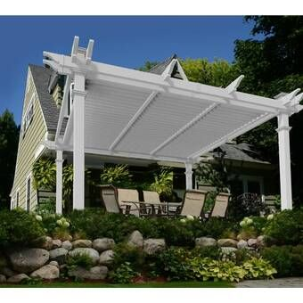 Preston 12 Ft X 14 Ft Pergola With Retractable Sun Shade Browns Tans Wood Pergola Pergola Designs Outdoor Pergola