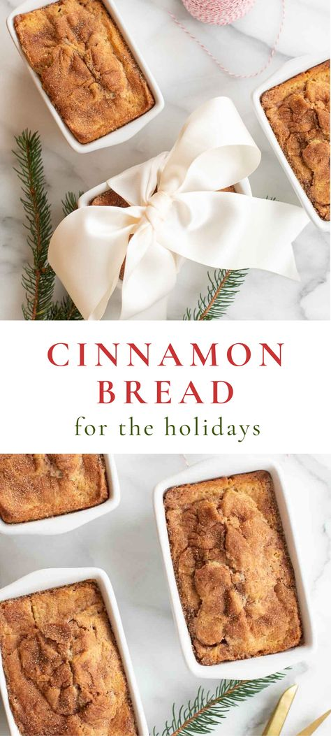bread recipes An easy Cinnamon Bread Recipe that is perfect for breakfast, snacks and gifting to friends, neighbors and co-workers! This Christmas bread makes a beautiful gift wrapped into inexpensive giftable loaf pans. Easy Cinnamon Bread Recipe, 2 Loaf Bread Recipe, Cinnamon Rolls, Christmas Bread, Christmas Snacks, Christmas Parties, Food Gifts For Christmas, Christmas Christmas, Holiday Bread