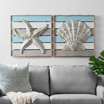 Coastal Rope Wood Plank Wall Plaques Set Of 2 Kirklands Coastal Wall Decor Beach Bedroom Decor Kirkland Home Decor