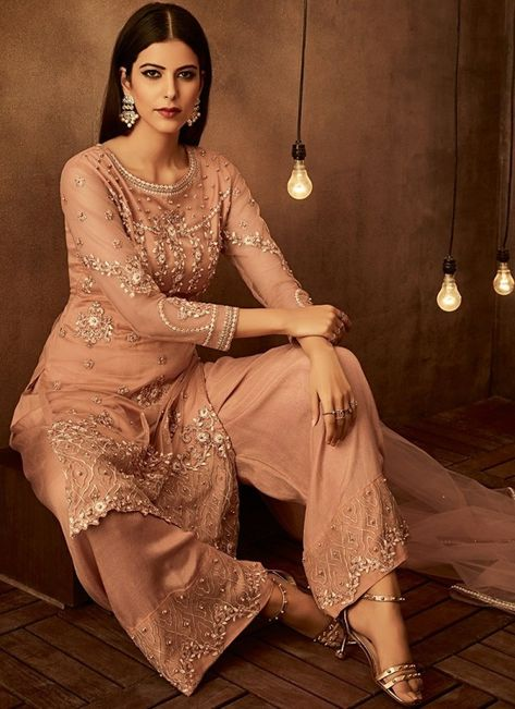 Peach Traditional Embroidered Palazzo Pant Suit - Hatkay