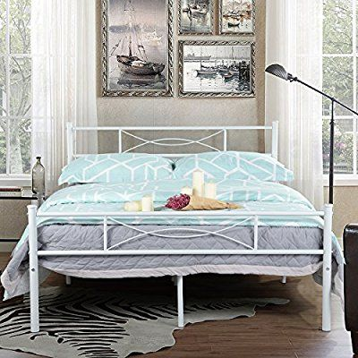 amazon com simlife metal bed frame full size 10 legs two headboards mattress foundation steel platform white chest dresser