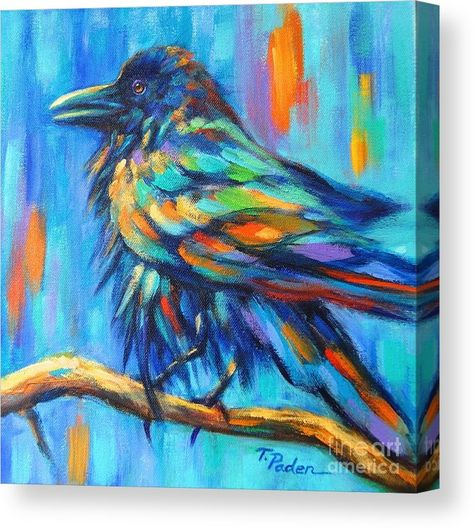 Colorful Animal Art Crow Painting By Theresa Paden