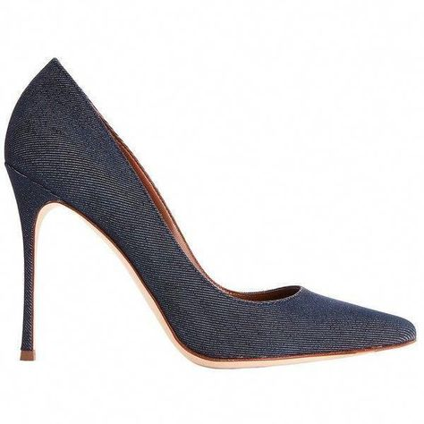 042ea7a8dbf Sergio Rossi Women s Godiva Dark Denim Pointy Toe Pumps (£460) ❤ liked on  Polyvore featuring shoes