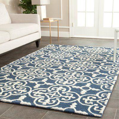 Navy Blue Ivory Wool Area Rug