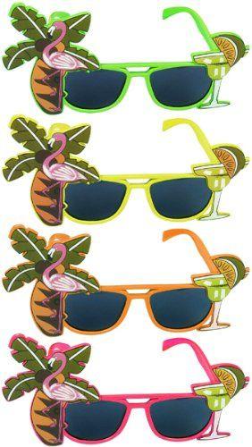 Hawaiian Luau Fancy Dress Party Flamingo Sunglasses Glasses Novelty Specs Green.