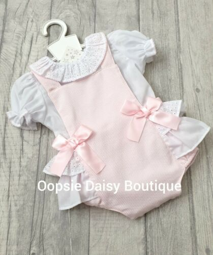 Baby Girls Spanish Style Romany Pink Daisies /& Bow Short Dungaree /& Top Outfit