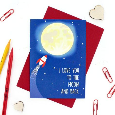 Birthday Card Love You To The Moon And Back Moon And Rocket