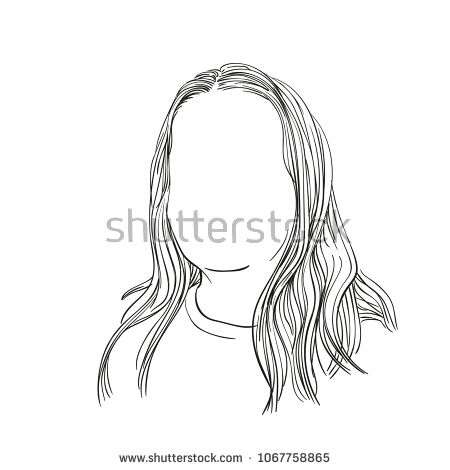 Vector Sketch Of Girl Head With No Face And Long Hair Hand Drawn Illustration Isolated