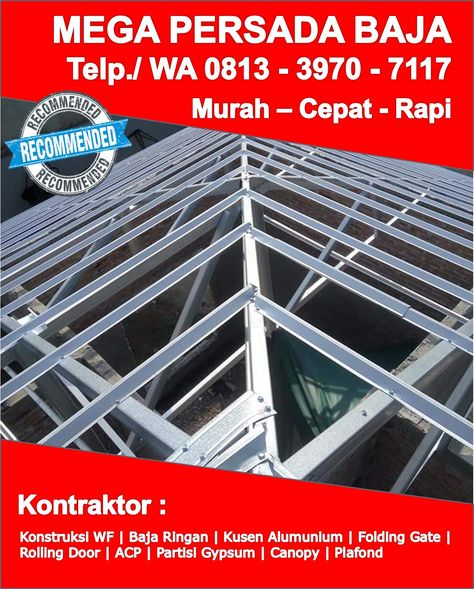 Gambar Konstruksi Kanopi Baja Ringan  order sekarang telp wa 0813 3970 7117 baja ringan model