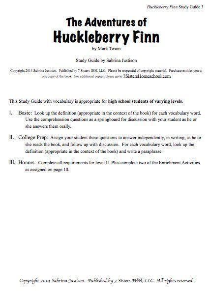 Excerpt For Huckleberry Finn Study Guide Literature Paraphrase