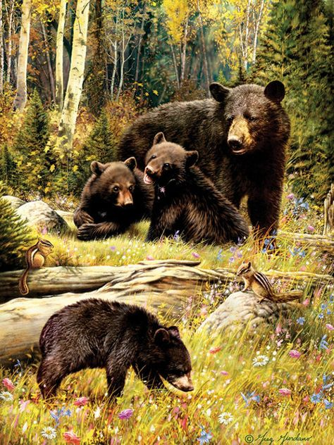 A family of bears play in the warm summer sun. A mother bear watches her cubs indulge in the bright rays. This high-quality American-made 1,000 piece puzzle is made in the USA with the finest inks, premium grade blue board, linen wrap, and the most endearing images. A pure delight for all ages! 1,000 pieces Amazing artwork Made in the USA! SKU: 85036
