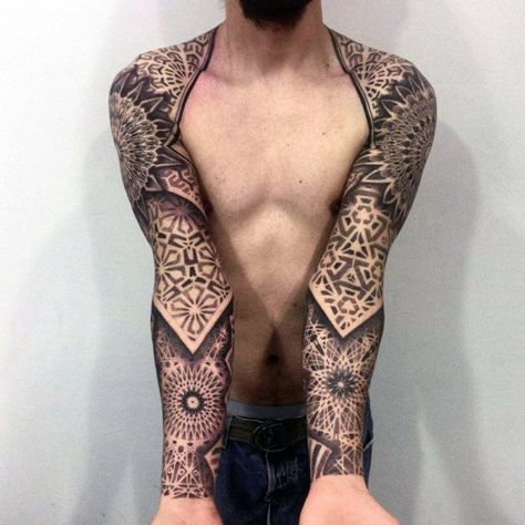 100 Cool Tattoos For Men – Manly Design Ideas With Originality Cool Dark Mandala Patterned Tattoo Mens Full Sleeve