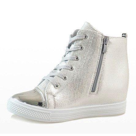 Botki Damskie Butymodne Szare Srebrne Sneakersy Na Koturnie 29333 2 Womens Boots Boot Shoes Women Silver Sneakers